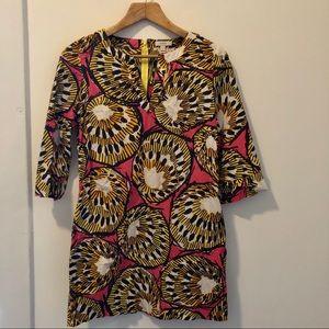 J.Crew Ratti Kiwi Pink/Yellow Printed Shift Dress